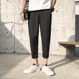 мужские офисные цвета Скидка M-5XL 2 Colors Plus Size Ankle Length Suit Pants Striped Business Streetwear Workout Formal Office Trousers Men XXXXXL