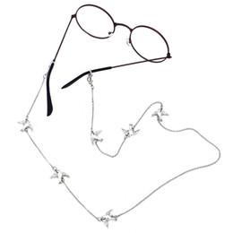 Porta-cadeias para óculos on-line-LuReen Adorável Metal Dove Cadeia De Óculos para As Mulheres / Meninas Moda Óculos de Sol Cordão de Pescoço Simples Titular Cadeia de Óculos Cinta