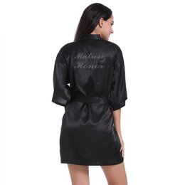 clothes married Promo Codes - Hot Drill Matron of Honor Married Bridesmaid Robe Printed Wedding Makeup Short-style Women Clothes 2019