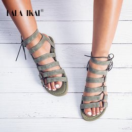 91abce40666 LALA IKAI Gladiator Sandals Ankle Strap Women Sandals Lace Up Woman Beach  Flat Sandals Shoes Ladies Summer 014A1482 -4