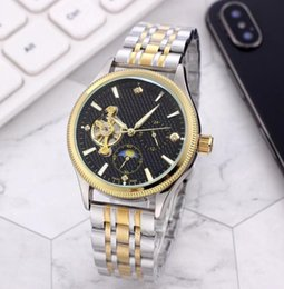 2019 titan schweizer männer beobachten Top Herren Luxus mechanische Uhr Swiss Fashion RO Marke Uhren Classic Crown Logo Herrenuhr automatische Sun Moon mechanische Uhr Datejust günstig titan schweizer männer beobachten