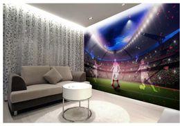 2019 campo de fútbol Campo de fútbol fondo de pared 3D pintura decorativa murales 3d papel pintado para sala campo de fútbol baratos