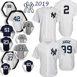 Derek jeter jerseys online-99 Aaron Judge Yankees, Derek Jeter 2 Nueva Jersey York Stanton 27 7 3 Manto Ruth Sánchez de calidad superior 24 jerseys del béisbol de 2019 nueva