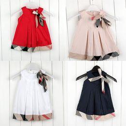 T da moda criança on-line-Novo 2019 Moda Bonito Meninas Vestidos Casuais Xadrez Vestido de Roupas de Bebê Da Criança Da Menina Dos Miúdos Roupas criança Trajes Tops Tees