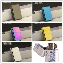 oil porcelain Promo Codes - Newest Gasoline Fire Retro Metal Black Ice Cigarette Lighter Smoking Fuel Refillable Oil Lighters Blue and white porcelain 6 colors choose