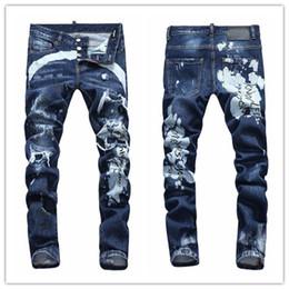 Vêtements en jeans en difficulté en Ligne-D2019 Nouvelle Mode Jeans Hip Hop Rock Moto Hommes Casual Designer Designer Vêtements Détresse Ripped Skinny Denim Biker Hommes Jeans d2 jeans