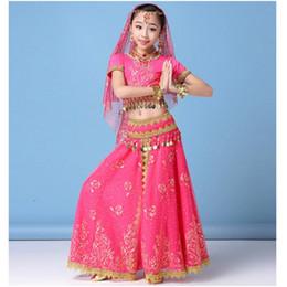 Style ethnique broderie fille costumes de danse du ventre Set Top + jupe + ceinture + voile + Bracelet enfants Professional Bollywood robe de danse indienne ? partir de fabricateur
