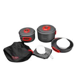 Alocs CW-C31 camping de utensilios de cocina con 3 macetas sartén cuencos Vajilla de picnic portátil Herramientas de Cocina Juego para 5-6 personas desde fabricantes