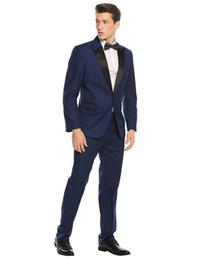 Smoking bleu marine marié mariage costumes pour hommes costumes de smoking costumes de smoking pour fumeurs d'hommes (Veste + Pantalon + Cravate) 061 ? partir de fabricateur