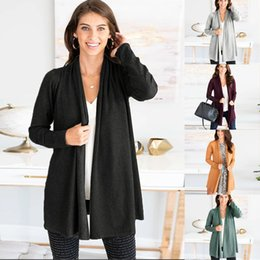 Women Pure Long Sleeve Cardigan Coat Casual Sweater Autumn Fashion Knitted Cardigan Outerwear Girls Tops LJJA3523-13 nereden