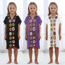 Crianças, crianças, swimsuit on-line-Criança Crianças Flor de crochê Dreess Pareo Praia Swimsuit Coverup Beachwear Crianças Camisa Cover Up E Túnicas Vestidos Coverups LJJA2591