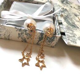 Brincos de estrela pendurados on-line-Top Quality Famosa Marca Dangle Brinco Pérola Estrela Cadeia de Borla Eardrop Designer Ear Stud Para As Mulheres Senhora Menina Com Caixa de Jóias
