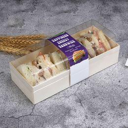 2019 contenedores de queso Cajas de pastelería para hornear de madera con caja transparente de PET para alimentos Cajas de envasado de alimentos desechables Contenedor para MoonCake Puff Cheese contenedores de queso baratos