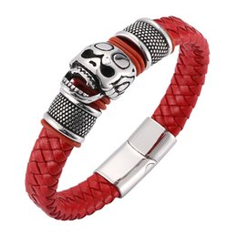 REAMOR 8 Red Lucky Simple Style Bangles 3 Wrap Braided Leather Cuff Bracelets with Magnet Buckle