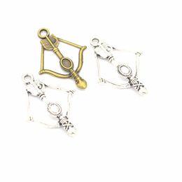 Bracelet flèche arc charmes en Ligne-50pcs / pack flèche Bow Charms bijoux bricolage Faire Pendentif Fit Bracelets Colliers Boucles d'oreilles en argent à la main Artisanat Bronze Charm