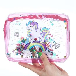 portable bath bag Promo Codes - New Summer Clear Makeup Pouch Waterproof PVC Cosmetic Case Unicorn Portable Travel Organizer Toiletry Bath Wash Bag
