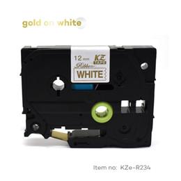 2019 formatador hp CIDY para TZe Satin Ribbon compatível Brother P Toque em 12mm de Ouro em Branco TZe-R234 TZ R234 tze R234 TZ R234 Fita de Rótulo