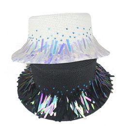 sombreros de papel para mujer Rebajas 2019 Nueva lentejuelas de moda Paillette Band Sun Hat para mujer Summer Straw Hat Holiday Ladies Flat Wide Brim Paper Woven Beach Hat HYcm