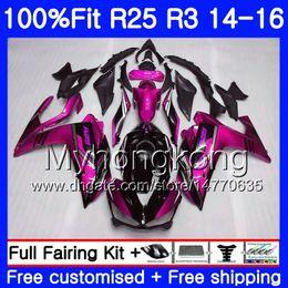 Carenados rosa negro online-Inyección Rosa Negro Rosa Cuerpo Para YAMAHA YZF R3 R25 YZF-R3 YZFR25 14 15 16 17 240HM.20 YZF-R25 R 25 YZFR3 2014 2015 2016 2017 Fairings kit