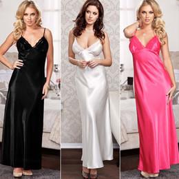 lange spitze nacht roben Rabatt Ladies Night Satin Silk Nachthemd Babydoll Nachthemd Chemise Lace Robe Nachtwäsche langes Kleid Sexy Dessous Kostüme Zubehör