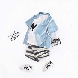 1aaa97740 Boys summer suit 2019 denim small stand collar shirt children's striped  beach shorts tide fan ins explosion small boy suit style on sale