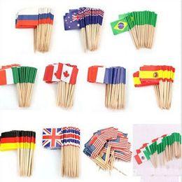 2019 banderas de australia Nuevo diseño de mini banderas de papel Alimentación Selecciones palillos mondadientes Reino Unido Australia de la bandera americana de la magdalena la decoración de frutas bonita de la fiesta rebajas banderas de australia
