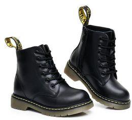 2020 botas de cuero negro chicos Venta caliente-Unisex Kids Boy's Girl Botines de cuero Toddler Little Kid Big Kid Primavera Negro Martin Boots con cremallera lateral Tamaño 26-40 botas de cuero negro chicos baratos