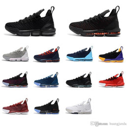 2ee2f55ce81 Cheap new What the lebron 16 basketball shoes men Thru 1 MVP Triple Black  Red Blue Fresh Bred Promise youth kids sneakers tennis with box