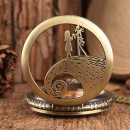 кошмар перед часами Скидка Classic The Nightmare Before Christmas Theme Pocket Watch Quartz Watch Bronze/Black/Silver Pendant Unisex Gift reloj P1583