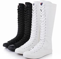 Высокий верх длинная труба танцевальная обувь высокая труба повседневная обувь холст боковой молнии на шнурках одного cheap long shoe canvases от Поставщики длинные сапоги для обуви