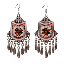 новые королевские украшения Скидка 2 colors Ethnic Royal Vintage Resin Shield Big Large Statement Earrings For Women New Fashion Jewelry 2019