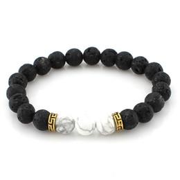Dhl perlen online-Freies dhl silber lava rock perlen charme armbänder colorized perlen unisex naturstein stränge armband für modeschmuck handwerk b362s a