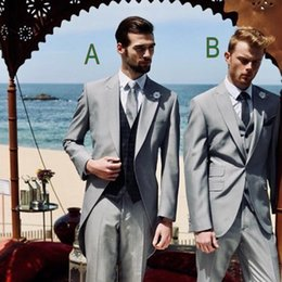 Tarte en Ligne-Tuxedos de mariage gris élégant costumes de marié de 2019 style britannique Made Business Man Tailcoat Attire 2 Piece Set (veste + pantalon + cravate)