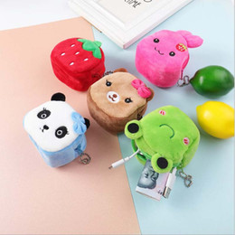 cubos de peluche Rebajas Cartoon Animal Plush Wallet Kitten Frog Stereo Cube Plush Small Purse Student Children Mini Plush Purse Girl Birthday Gift