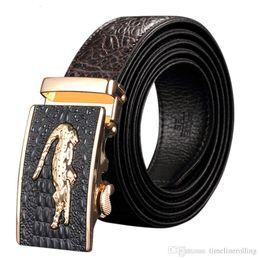 Krokodil-alligator-gürtel online-LuxuxMens Alligator Geprägte Plaque Schnalle Rindsleder echtes Leder Ratchet Gürtel 3D Krokodil-Muster-Jeans Gürtel für Männer