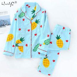 Coton d'allaitement en Ligne-Ensemble de pyjama d'allaitement Grossesse Vêtements de nuit Vêtements d'allaitement 100% coton Gaze Thin Maternity Wear Automne Femmes Pyjamas Set