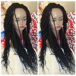 Синтетические полусинтетические парики онлайн-Горячие продажи синтетические плетеные кружева передние парики половина рука микро плетение парики жаропрочных черные женщины для афро-американских плетеные парики