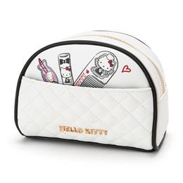 Olá kitty bolsas para crianças on-line-Nova Moda Olá Kitty Meninas Crianças PU Branco Cosméticos Sacos Casos Para Crianças
