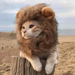 2019 leão perucas cachorros Gato Leão Juba Animal de Estimação Leão Traje Pet Lion Hair Peruca para Cães Gatos Animais de Estimação Halloween Presente de Festa de Natal leão perucas cachorros barato