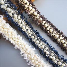 Adornos para coser perlas online-1 yarda Vintage 3 cm Nylon oro perla con cuentas bordado encaje tejido de la cinta hecho a mano DIY traje vestido suministros de costura