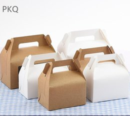 dessert boxes Coupons - 30pcs lot High Quality Natural Kraft Paper Box for Mousse Dessert White Cake Box with Handle Small Cupcake Packaging 4 Sizes