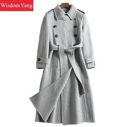 detailed look ba991 25128 Rabatt Graue Wolle Trenchcoat Frauen   2019 Graue Wolle ...