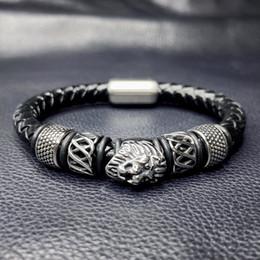 leder-armbänder für männer Rabatt Neues Design Punk Männer Schmuck Schwarz Geflochtenes Leder Armband Lion Armband Stahl Magnetverschluss Männlichen Bijoux Homme SP0072