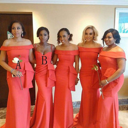 Vestido de noche de retrato online-Vestidos de dama de honor de sirena de coral africano 2019 Cuello vertical Longitud del piso Talla grande Mancha elástica Vestido de fiesta de noche Vestidos de invitados de boda