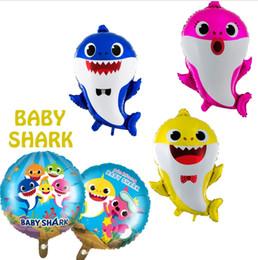 2019 bonito aniversário bebês Desenhos Animados Do Bebê Tubarão Balão Bonito Narwhal Foil Balões Brinquedos Festa de Aniversário Suprimentos Tubarão Animal Decoração Do Presente Do Partido TTA939 desconto bonito aniversário bebês