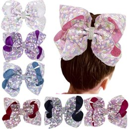 Зажим для волос для младенцев ручной работы онлайн-Kids Girls Barrettes Large Sequins Rhinestone Grosgrain Ribbon Bow Hair Clip Baby Hair Accessories Handmade Princess Headwear