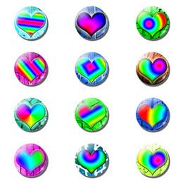2019 ornamenti di vetro di vetro Magneti del frigorifero 12pcs / 25mm Cambiamento graduale Colorful frigorifero a forma di cuore adesivi magnetici Cupole di vetro Ornamenti Home Decor ornamenti di vetro di vetro economici