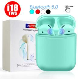 2019 auricular mic para iphone I18 TWS Twins Auriculares inalámbricos Bluetooth Auriculares Auriculares Mini Bluetooth Auricular con micrófono para iPhone X IOS Android con minorista auricular mic para iphone baratos