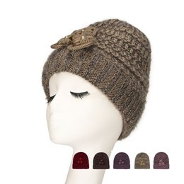 9e4789ca124 Fashion Women s Knitted Wool Hat Ladies Flowers Winter Thickening Ear  Protection Warm Caps New