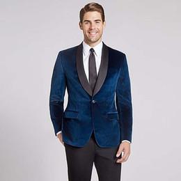 costume de smoking bleu marine châle revers tuxedos velours vintage vers hommes costume pour mariage 2018 soirée soirée prom blazer veste + pantalon ? partir de fabricateur